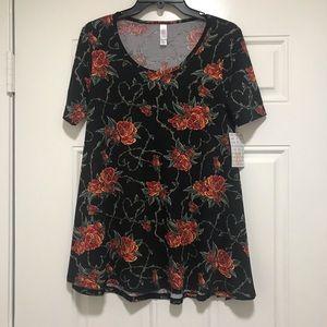 Lularoe Perfect T - Black Red Roses Vines - XS